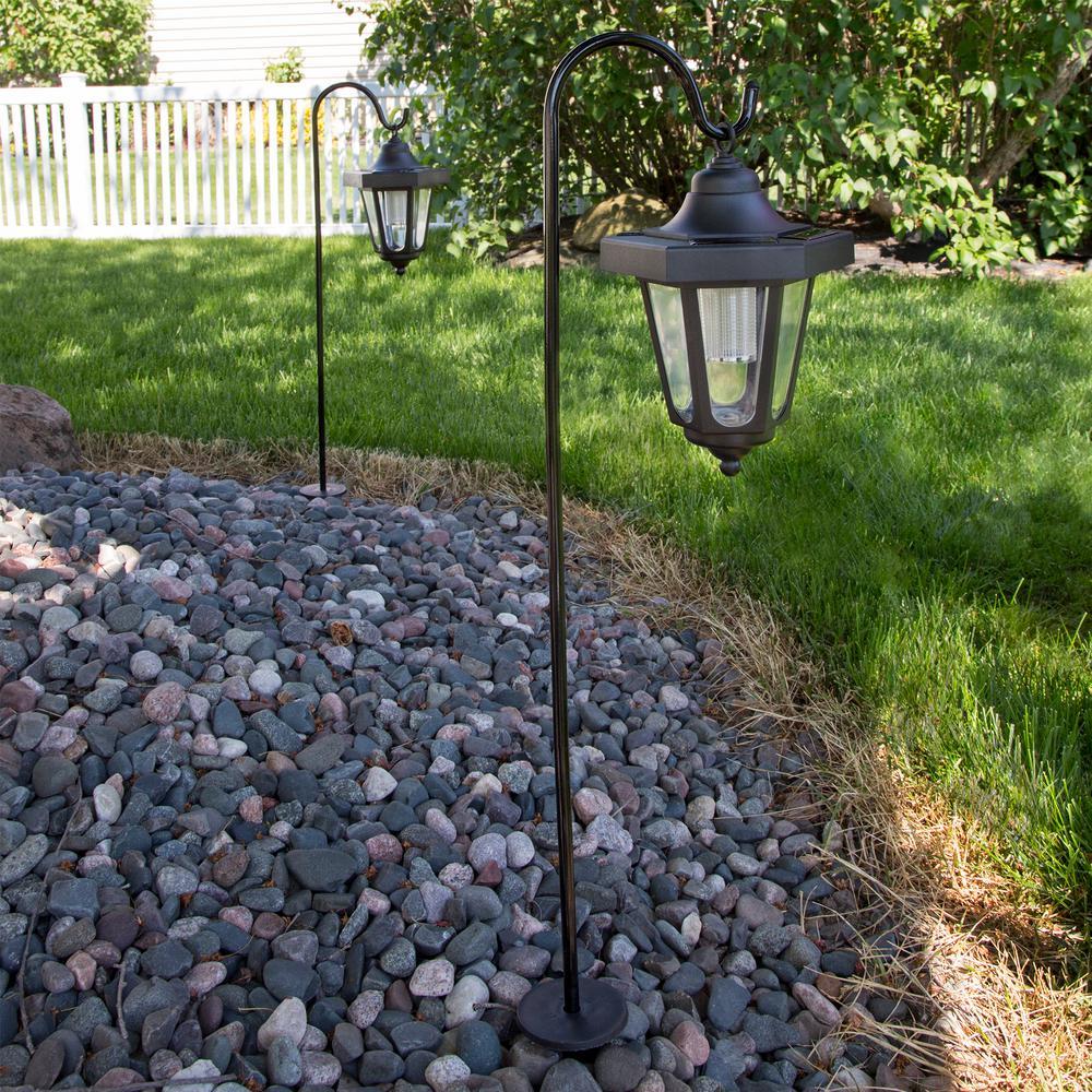 Pure Garden Solar Led Black Hanging Coach Lanterns 2 Pack M150035 The Home Depot