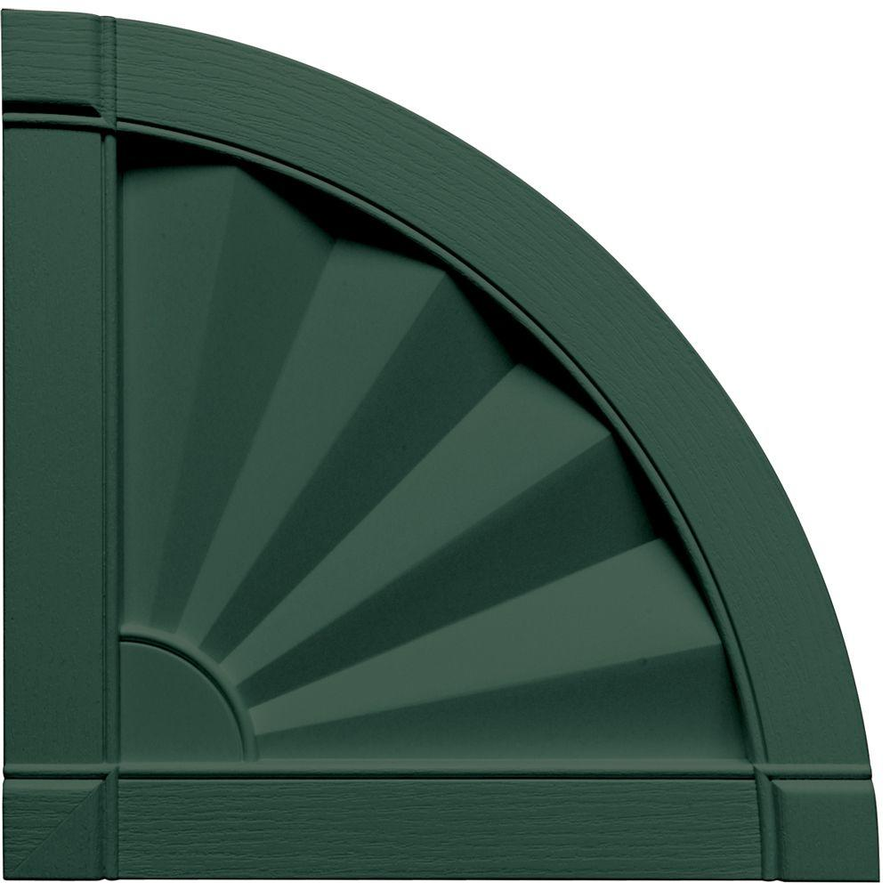 Builders Edge 15 in. x 15 in. Fanfold Design Forest Green Quarter Round Tops Pair #028-DISCONTINUED