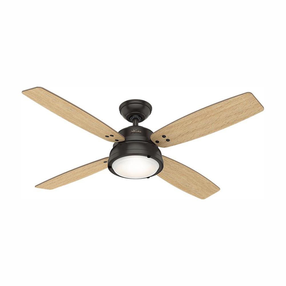 Hunter Wingate 52 in. LED Indoor Noble Bronze Ceiling Fan with Light Kit and Handheld Remote