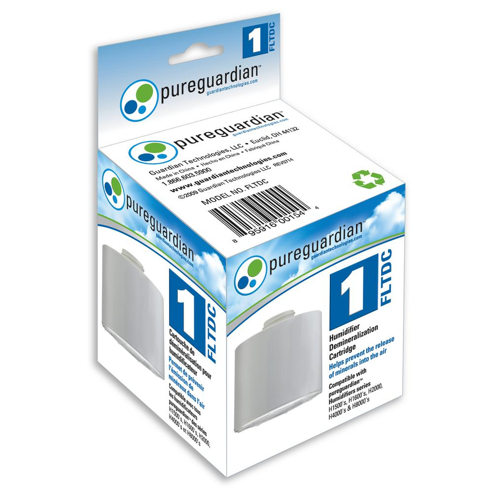 PureGuardian Humidifier Demineralization Filter, Whites PureGuardian FLTDC humidifier Demineralization Filter, Cartridge #1, is easy to use. It helps to prevent the release of minerals (white dust) into the air. It simply screws into the humidifier tank and will last approximately 1,000-hours or with the use of 260 Gal. of water. This all depends on the condition of the water you are using in the humidifier. It is still recommended to clean your humidifier accordingly, based on the Manufacturer's Instructions. It is recommended to use with the PureGuardian Models H1510, H1610, H4610, H4810 and H8000B. Color: Whites.