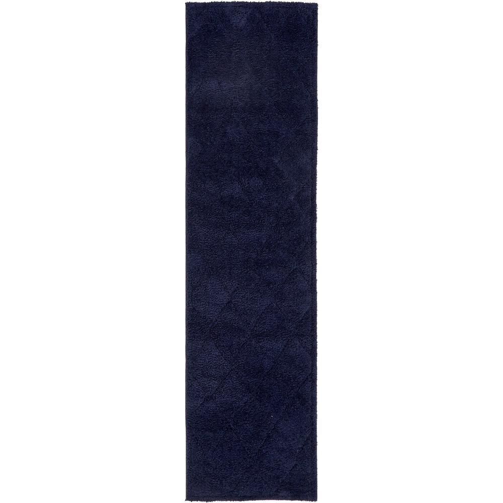 Trellis Shag Diamond Navy Blue 2' 7 x 10' 0 Runner Rug