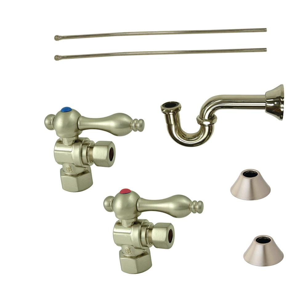 Classic Decorative 1-1/4 in. Brass P-Trap and Supply Set in Satin