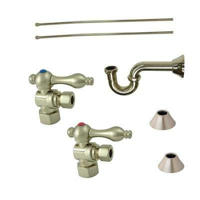 Classic Decorative 1-1/4 in. Brass P-Trap and Supply Set in Satin Nickel