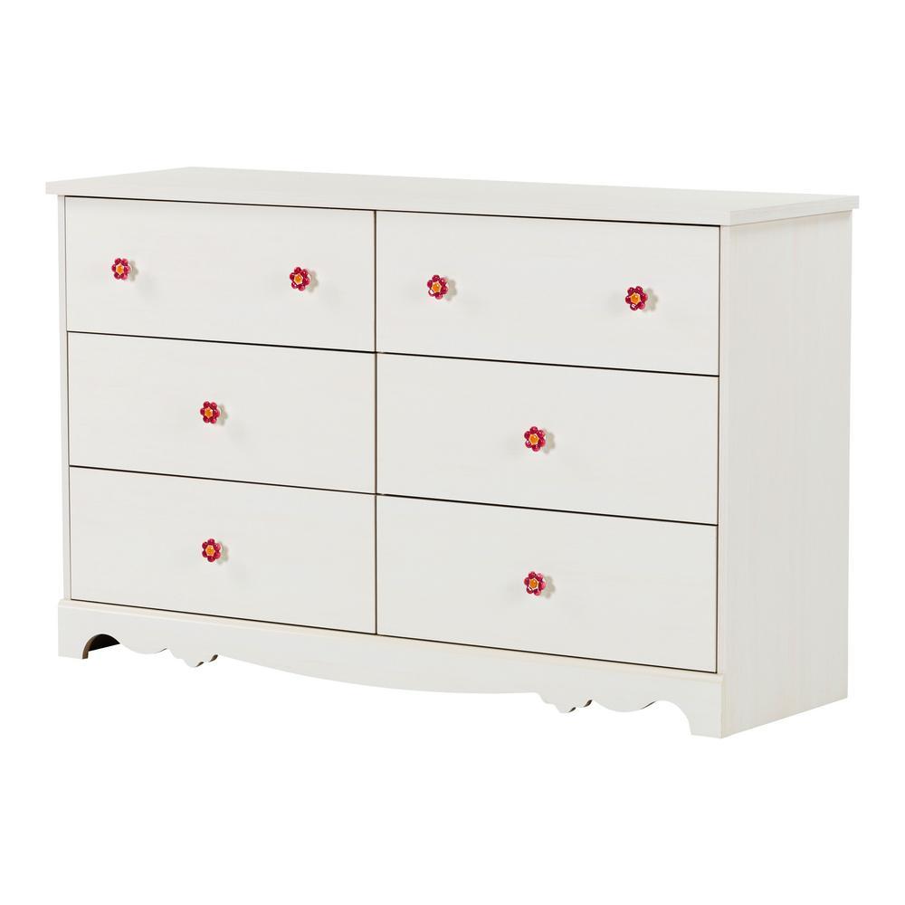 Lily Rose 6-Drawer White Wash Dresser