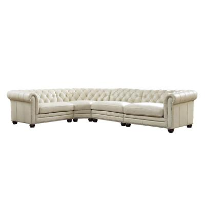 Aliso White 100% Leather Sectional Sofa (4-Piece)