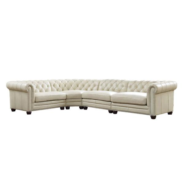 Aliso 4-Piece White Leather 4-Seater L-Shaped Sectional Sofa with Nailheads