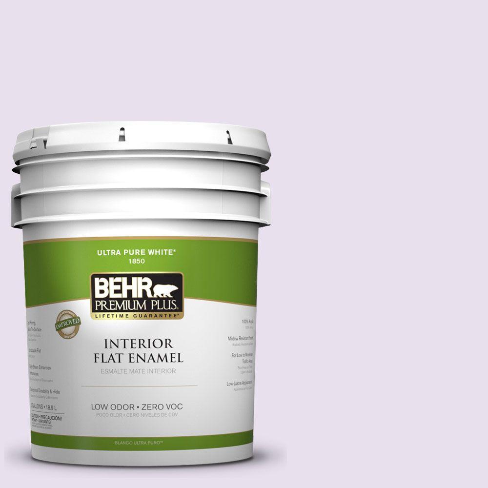 BEHR Premium Plus 5-gal. #660C-1 Bubble Bath Zero VOC Flat Enamel Interior Paint-DISCONTINUED