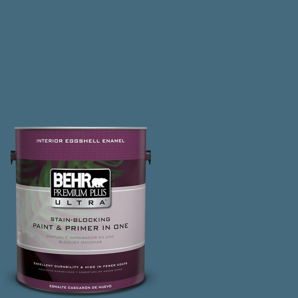 1 gal. #550F-6 Regatta Bay Eggshell Enamel Interior Paint and Primer