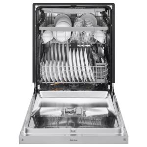 LG Electronics 24 in. Front Control Built-In Dishwasher in PrintProof Stainless Steel with QuadWash, 3rd Rack, SmartThinQ, 46 dBA