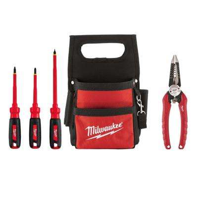 Electrician's Hand Tool Set With Tool Pouch  (5-Piece)