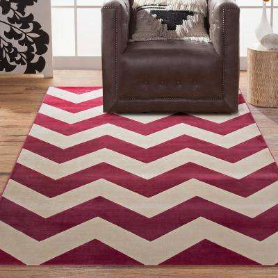 Sonoma Chevron Raspberry 5 ft. 3 in. x 7 ft. 6 in. Area Rug