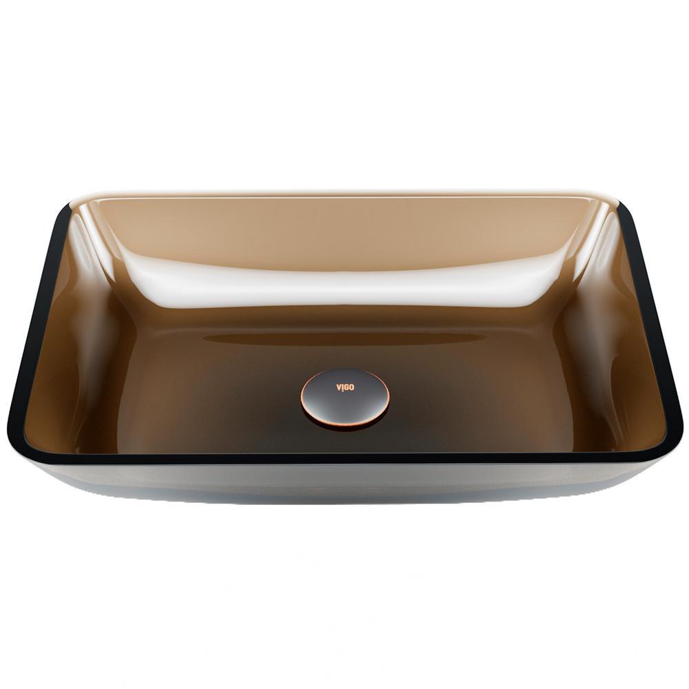 Rectangular Sheer Sepia Glass Vessel Bathroom Sink