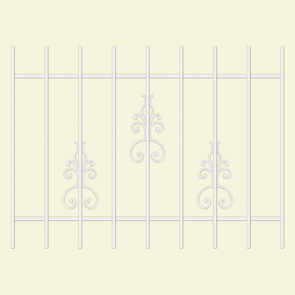 Unique Home Designs El Dorado 48 in. x 36 in. White 9-Bar Window Guard-DISCONTINUED