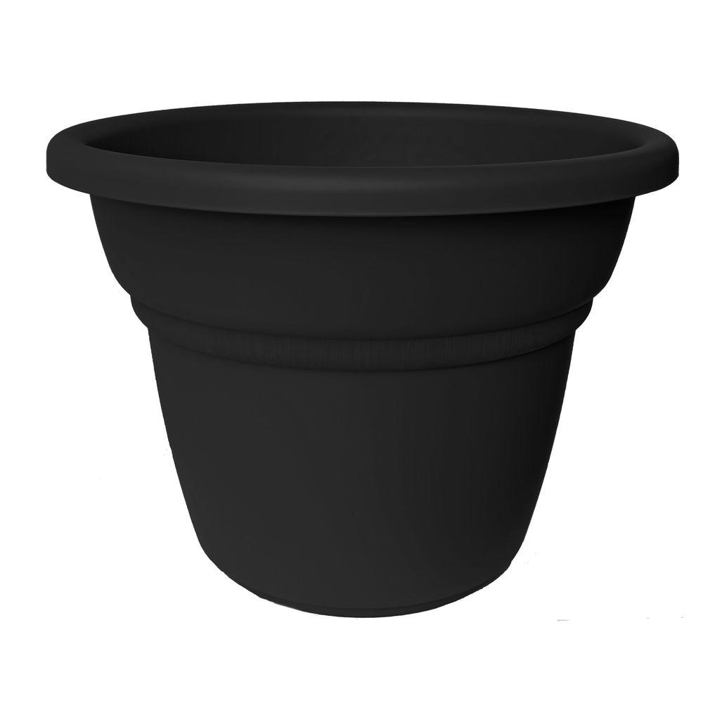 12 in. Black Plastic Milano Planter