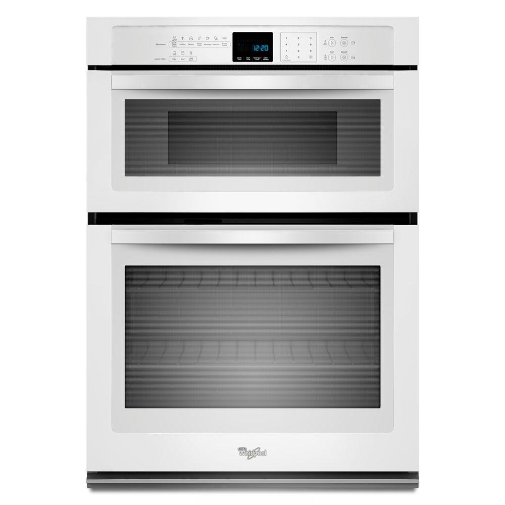 Whirlpool 30 in electric wall oven with built in microwave in white woc54ec0aw the home depot - Built in microwave home depot ...