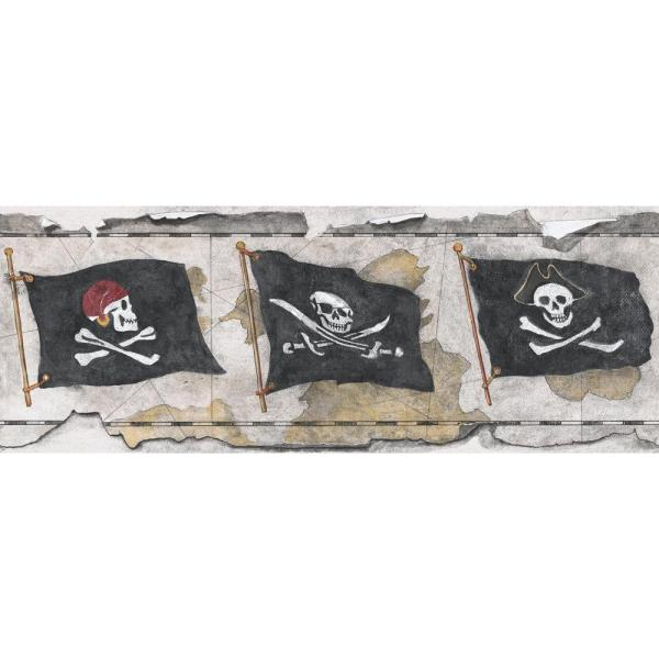 York Wallcoverings Brothers and Sisters V Pirate Flag Wallpaper Border SB7790B