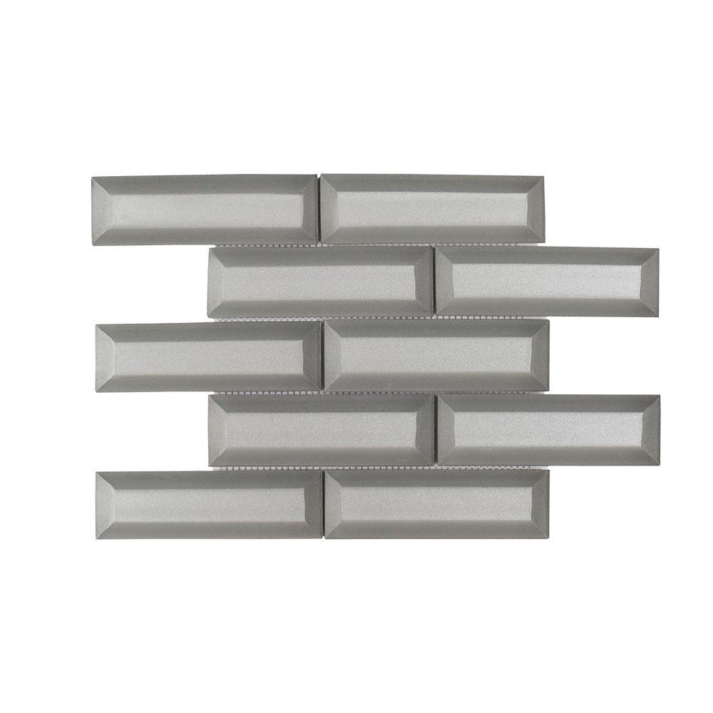 Silver Ingot 9.625 in. x 11.75 in. x 9 mm Glass Mosaic Tile