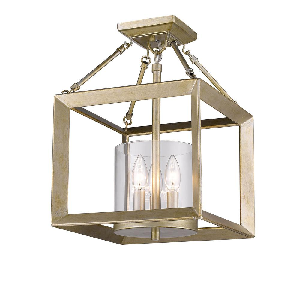 Golden Lighting Smyth 3-Light White Gold Semi-Flush Mount