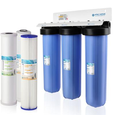 3-Stage Whole House Water Filtration System Sediment, KDF and Carbon for Multi-Purpose