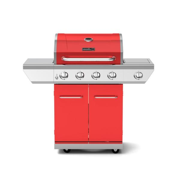 4-Burner Propane Gas Grill in Red with Side Burner