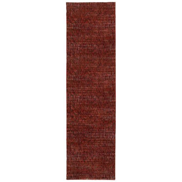 Unbranded Audrey Red Rust 2 Ft X 12 Ft Solid Runner Rug 001151 The Home Depot