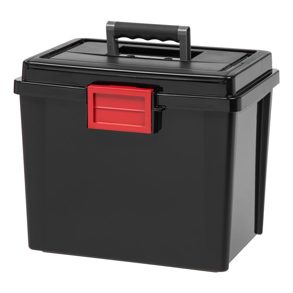 IRIS 19 Qt. Portable Weathertight File Storage Box in Black (4-Pack)
