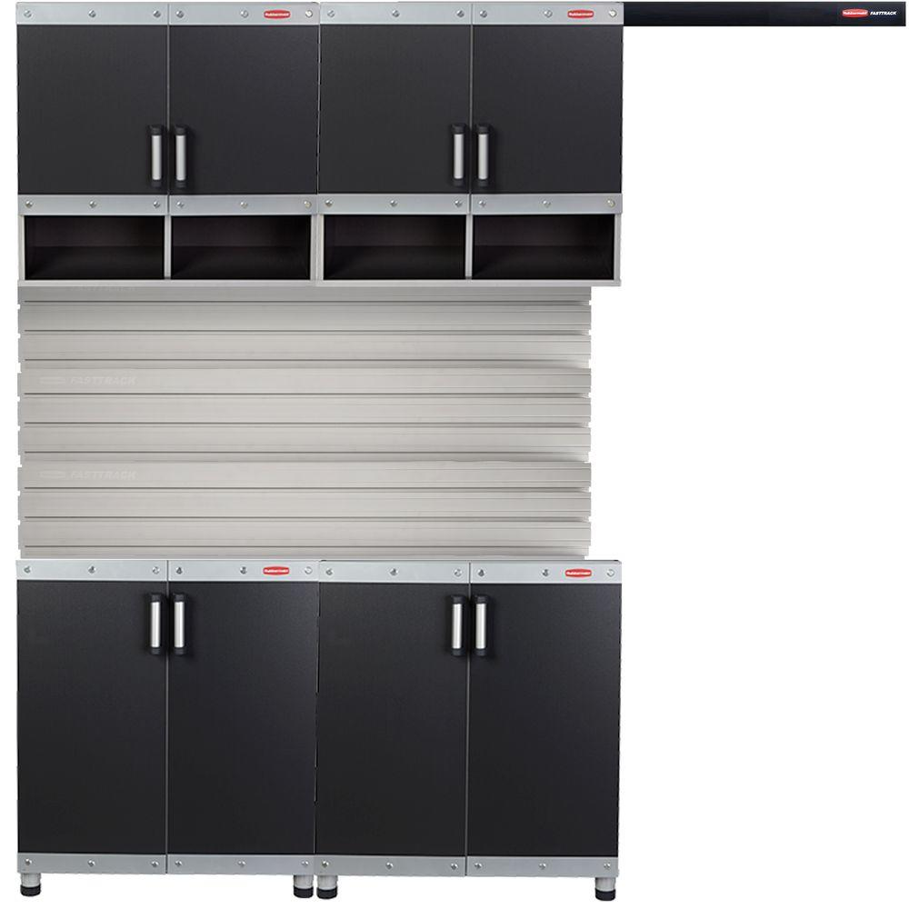 Rubbermaid FastTrack Garage Laminate Cabinet Set With Wall Panel 4 Piece