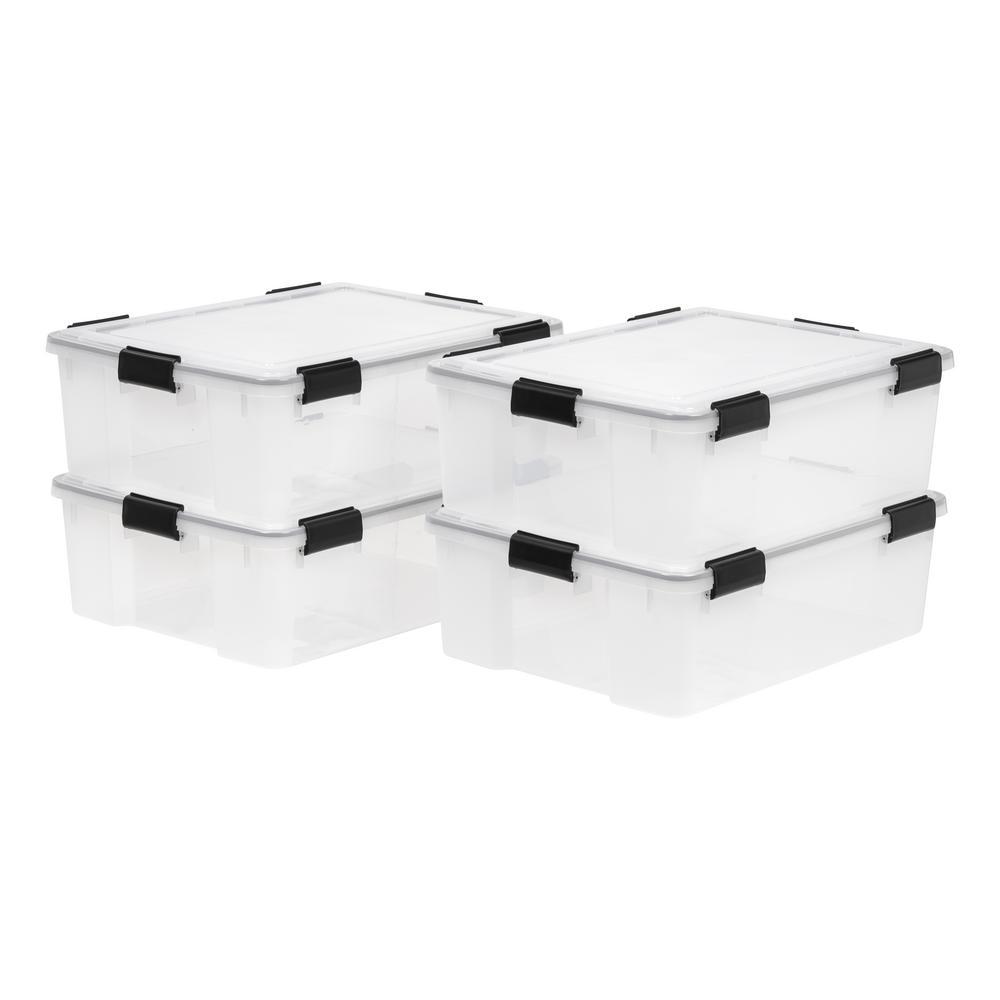IRIS 41-Qt. Weathertight Storage Box in Clear (4-Pack)