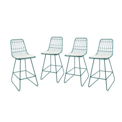 Niez 42 in. Teal Bar Stool with Ivory Cushions (Set of 4)
