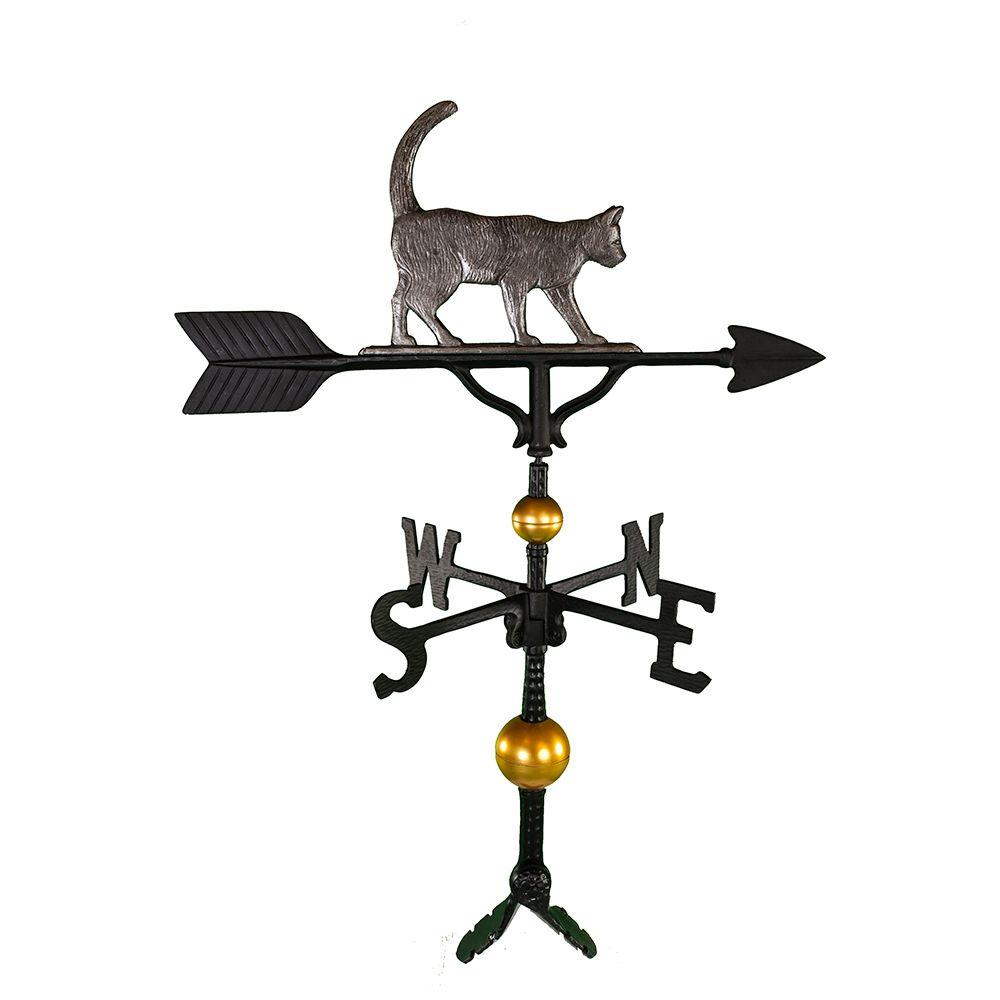 Montague Metal Products 32-Inch Deluxe Weathervane with Gold Cat Ornament