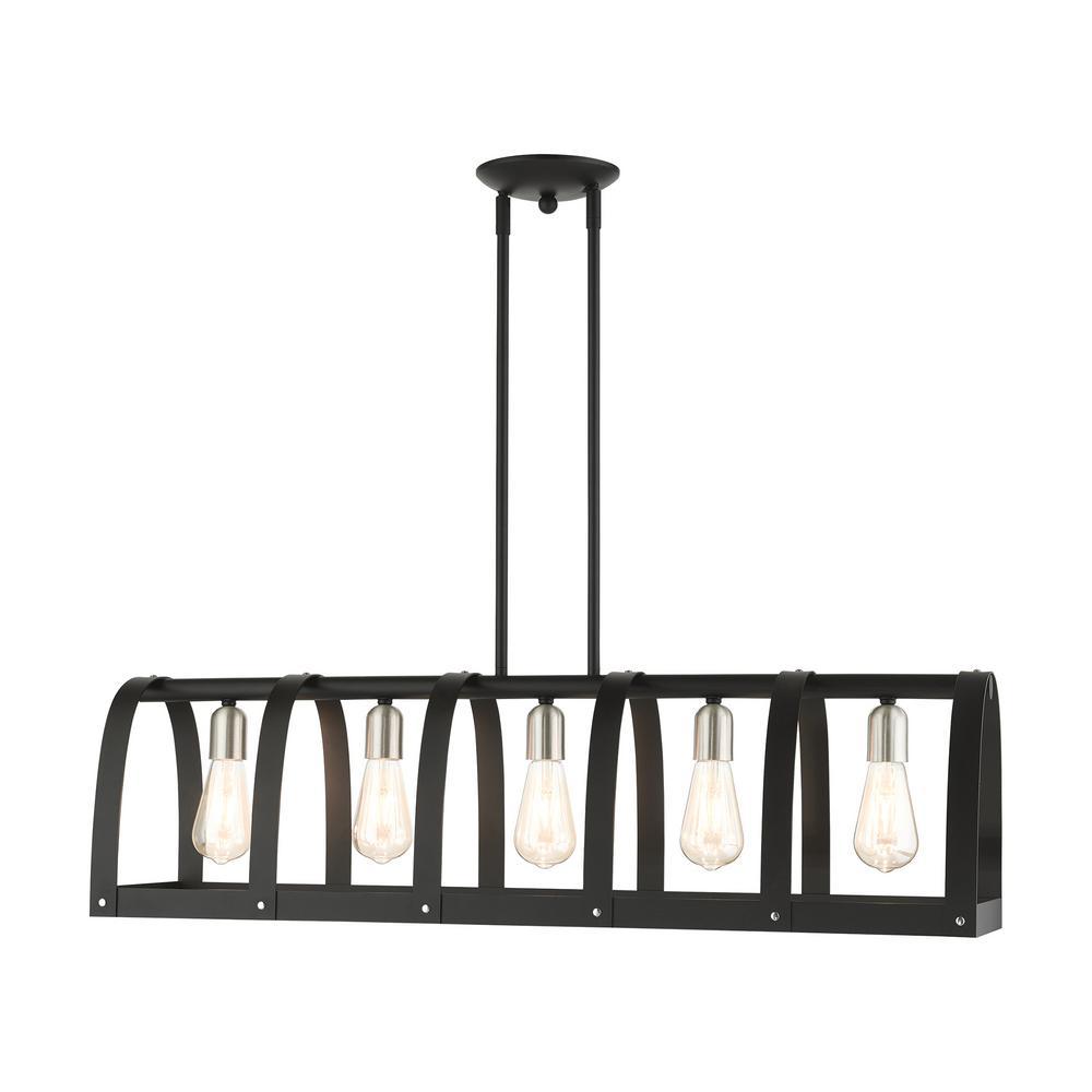 Stoneridge 5 Light Textured Black Linear Chandelier