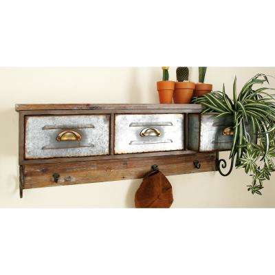 3-Drawer Farmhouse Shelf and Hook Organizer
