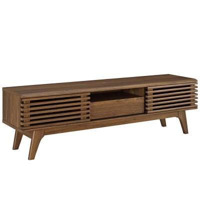 Render 59 in. Walnut Wood TV Console with 2 Drawer Fits TVs Up to 62 in. with Storage Doors