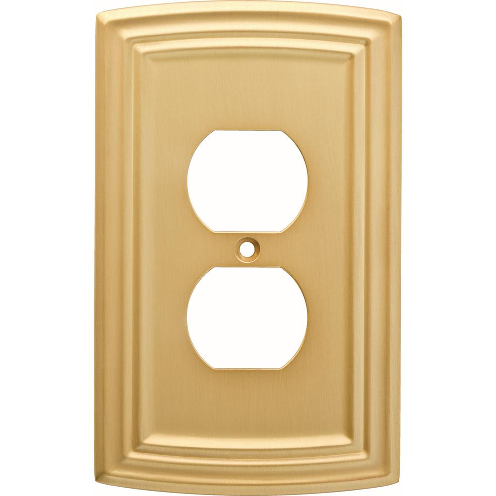 Hampton Bay 1-Gang Classical Decorative Single Duplex, Brushed Brass ...