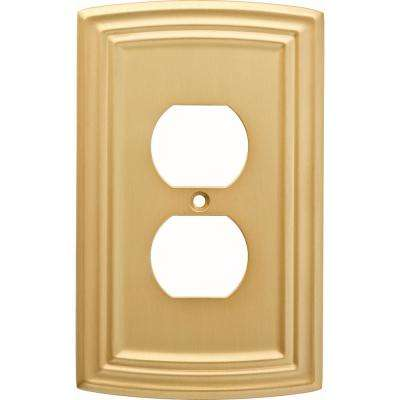 Emery Decorative Single Duplex Outlet Cover, Brushed Brass