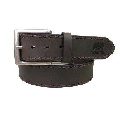 Men's Size 32 Brown Heavy Stitched Genuine Leather Belt