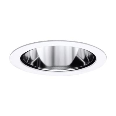 4 in. Satin White Recessed Ceiling Light Cone Trim with Specular Reflector
