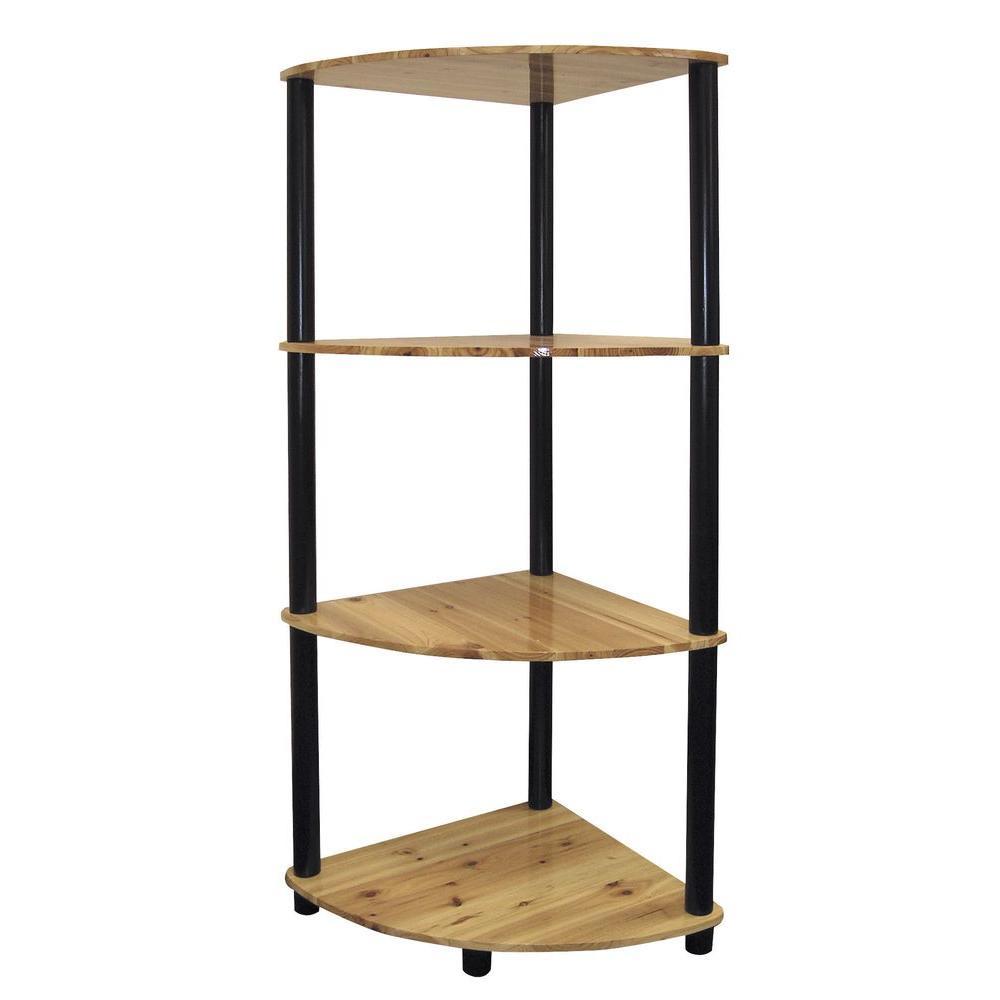 4-Shelf Corner Bookcase in Natural Finish by