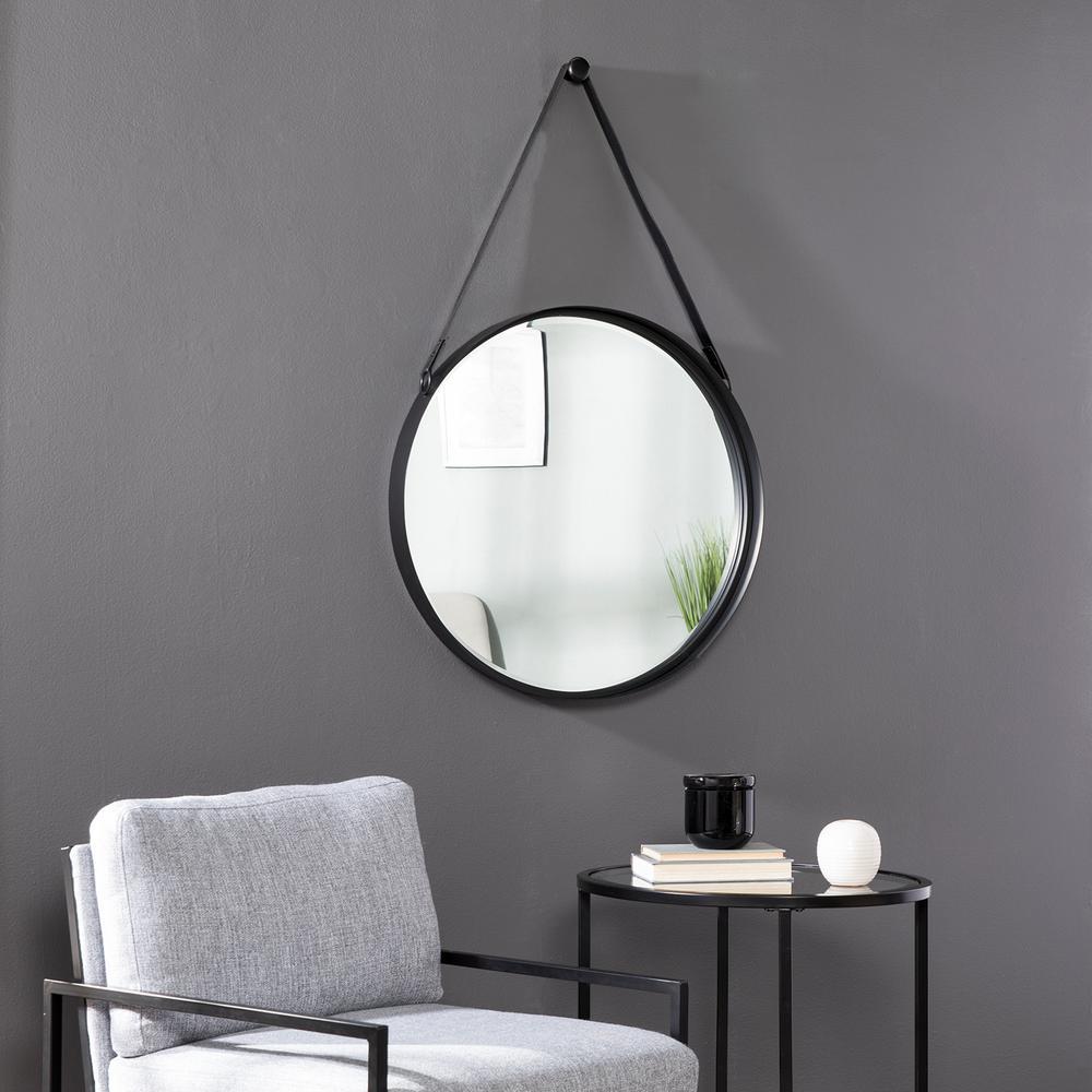 Sheffer Black Round Decorative Mirror