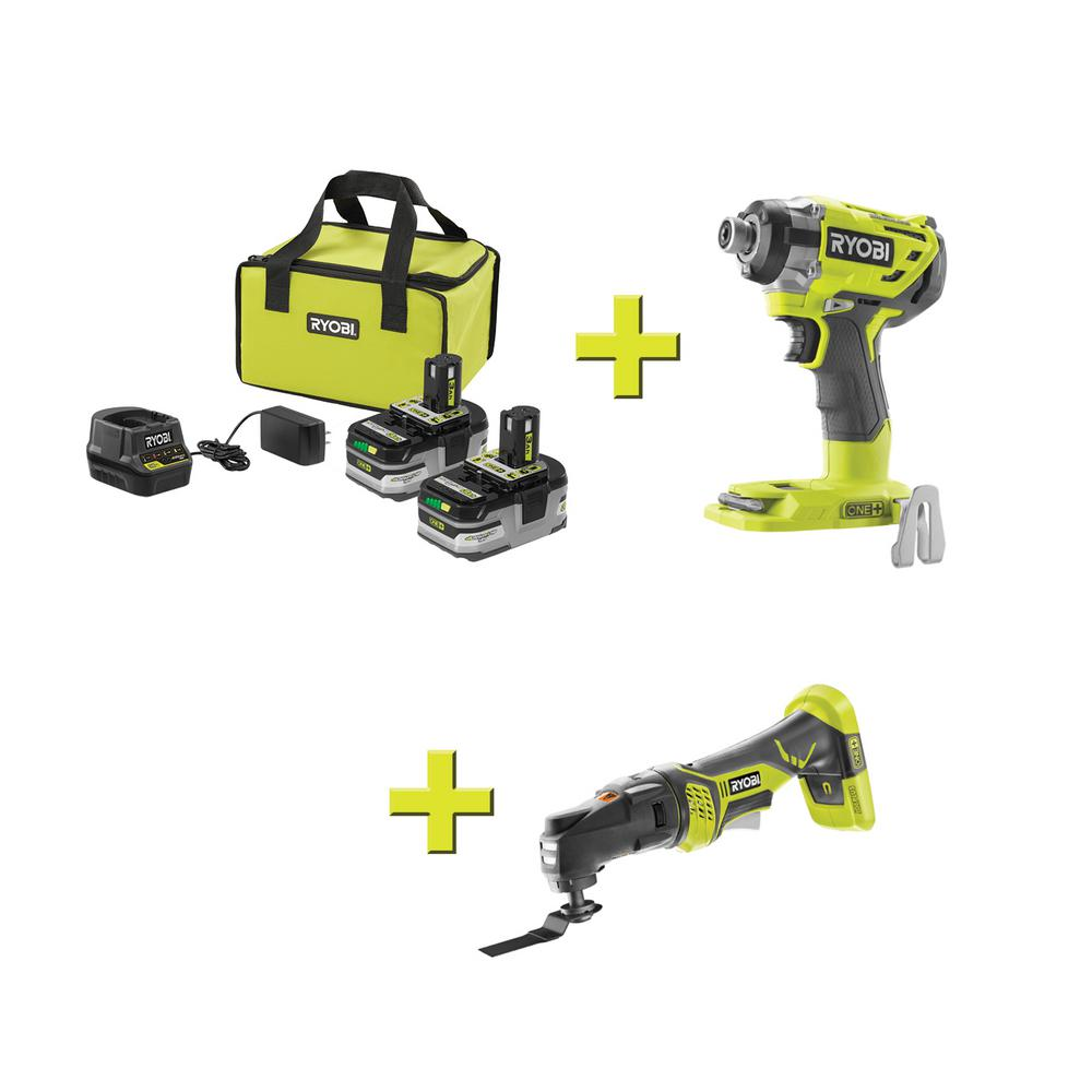 RYOBI 18-Volt ONE+ LITHIUM+ HP 3.0 Ah Battery (2-Pack) Starter Kit with Charger and Bagw/Bonus ONE+ JobPlus & Impact Driver