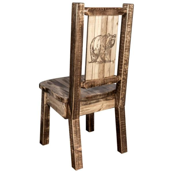 Homestead Collection Early American Dining Side Chair with Laser Engraved Bear Design