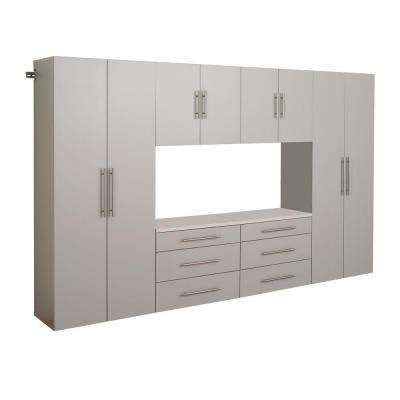 HangUps 72 in. H x 123 in. W Light Gray Wall Mounted Storage Cabinet Set I