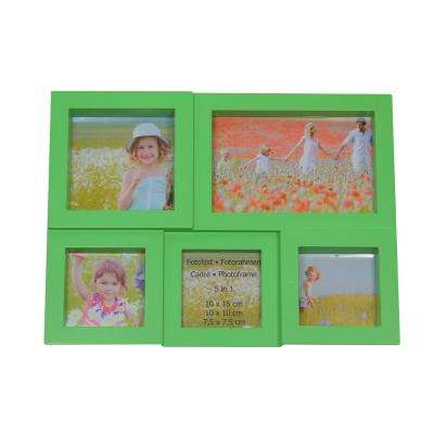 11.5 in. Green Multi-Sized Puzzled Photo Picture Frame Collage Wall Decoration