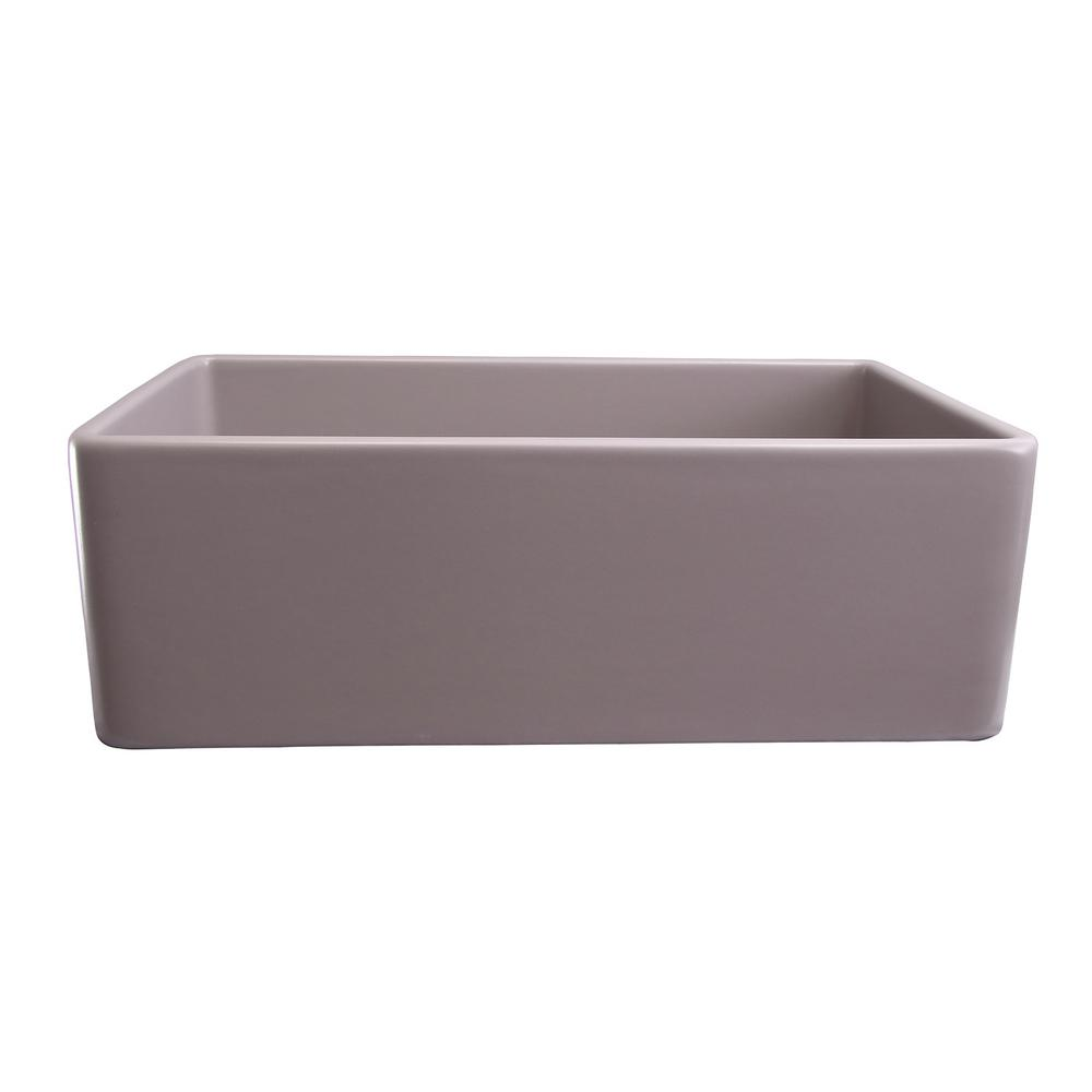Barclay Products Crisfield Farmhouse Apron Front Fireclay 30 in. Single Bowl Kitchen Sink in. Gray