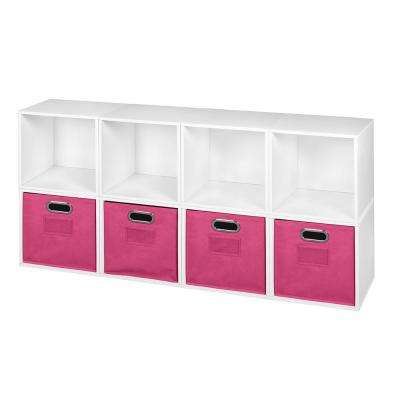 Cubo 52 in. H x 26 in. W White Wood Grain/Pink 8-Cube and 4-Bin Organizer