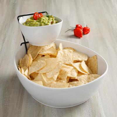 Gracious Dining 3- Piece, 2-Tier White Chip and Dip Set with Metal Rack