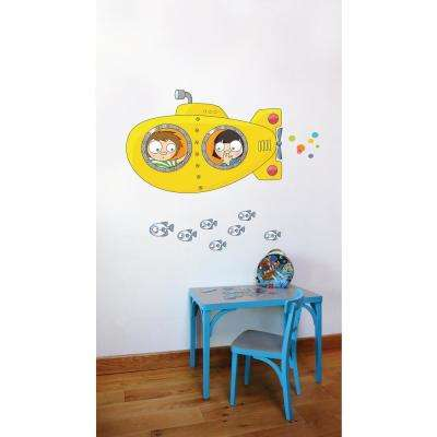 """(50.6 in x 39 in) Multi-Color """"Yellow Submarine"""" Kids Wall Decal"""