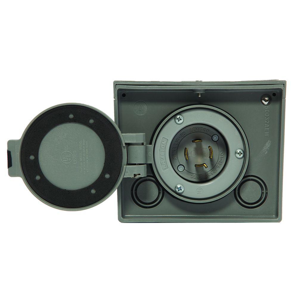 20-Amp Raintight Resin Power Inlet Box