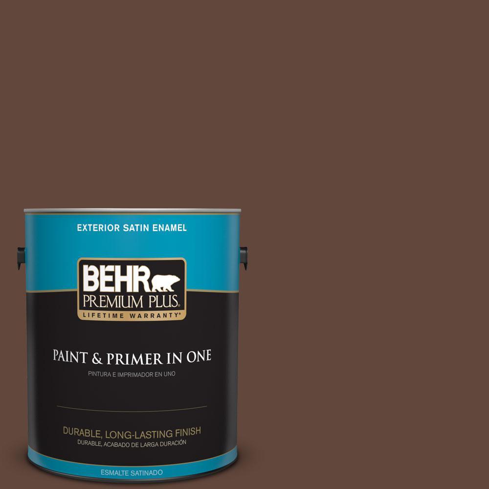 BEHR Premium Plus 1-gal. #S-G-760 Chocolate Coco Satin Enamel Exterior Paint
