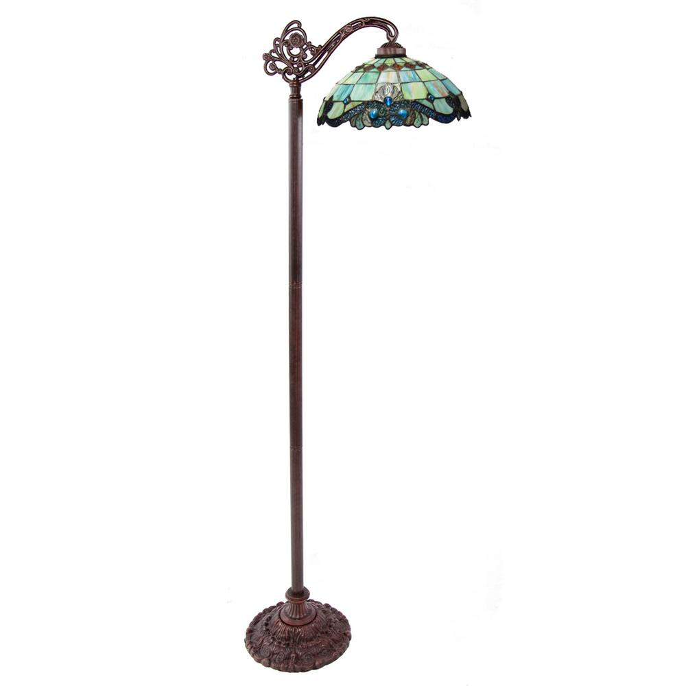 60.5 in. Green Indoor Side Arm Floor Lamp with Stained Glass